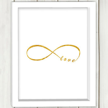 Infinity love printable art, DIGITAL FILE, wall art, home decor, gold print,instant download