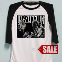 Led Zeppelin Shirt Hard Rock Band Tshirt Long Sleeve Unisex Baseball Shirts Raglan Jersey TShirt Black White Tee Men Women S M L