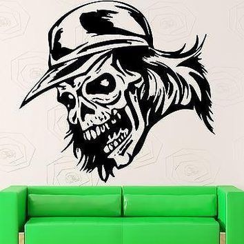 Skull Wall Stickers Baseball Cap Tattoo Death Vinyl Decal Unique Gift (ig686)