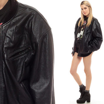 Leather Bomber Jacket Black 80s Womens Biker Moto 1980s Vintage Hipster Coat