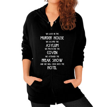 WE LIVED IN THE MURDER HOUSE Zip Hoodie (on woman)