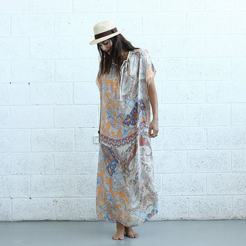 Paisley Kaftan Dress - Silk