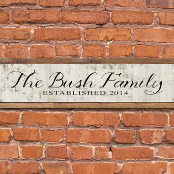 "Family customized wooden sign.  36""x9""x2"" Handmade."