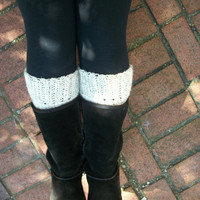 Boot Cuffs - FREE SHIPPING - Chunky & Warm - Crocheted Cream Wool - Leg Warmers - Boot Warmers - Boot Toppers
