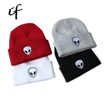 illfly Women's Aliens Bonnet Saucer Space E.T UFO Knit Hat Embroidery ski Knitted Hats Female Winter Caps Men Beanies Girl Caps