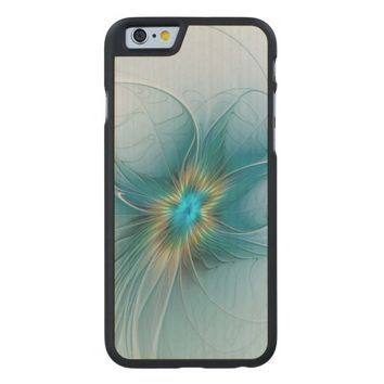 The little Beauty, Abstract Fractal Art with blue Carved® Maple iPhone 6 Slim Case