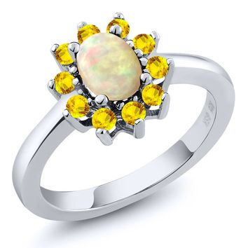 Oval Cabochon White Ethiopian Opal Yellow Sapphire Ring