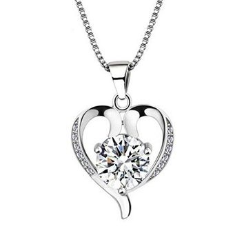 SHIP BY USPS: Bling Stars Silver Plated Swarovski Element Accent White Heart Shaped Pendant Necklace