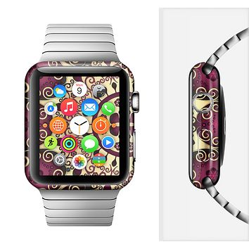 The Mirrored Gold & Purple Elegance Full-Body Skin Set for the Apple Watch
