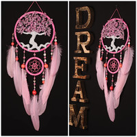 Dreamcatcher Dream Catcher pink Dreamcatcher Tree of Life Dream сatcher gift idea dreamcatchers boho wall handmade gifts valentines day