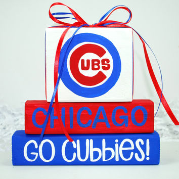 Chicago Cubs WoodenBlock Sports Shelf Sitter Stack