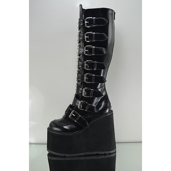 "Swing 815 Black Multi Strap Goth Punk Knee Boot 5.5"" Platform Vegan"