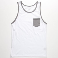 Blue Crown Contrast Mens Pocket Tank White  In Sizes