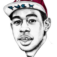 Rapper Tyler the Creator Supreme Drawing B/W Poster