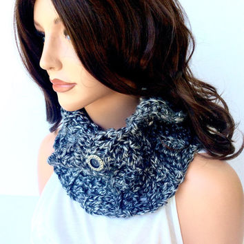 Black and Grey Warm Crochet Cowl with Button, Black and Gray Chunky Infinity Scarf