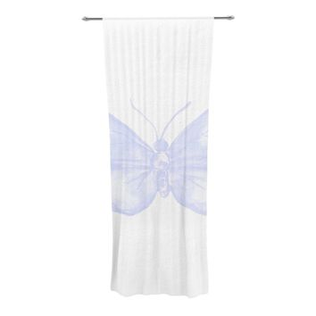 "Jennifer Rizzo ""Lavender Butterfly"" Purple White Decorative Sheer Curtain"