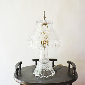 Lead Crystal Lamp, Cut Glass Table Lamp, German Crystal Lamp,  Table Nightlight, Vintage Lamp, Glass Lamp, Bedroom Lighting, Cut Glass Lamp