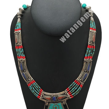Ethnic Tribal Lapis,Red Coral & Green Turquoise Inlay Statement Necklace, NPL142