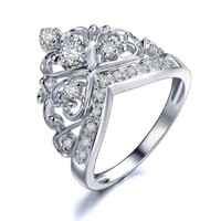 Rose Princess Sterling Silver White Cubic Zirconia Crown Ring