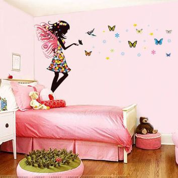 Fairy Girl Colorful Butterflies Wall Sticker Vinyl Mural Nursery Bedroom Decor