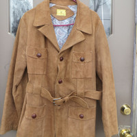 mens 70s vtg      deerskin  PIEL GENUINA Mexico   fine  suede   LEATHER Western Jacket /car coat belted  sz 42
