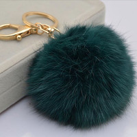 Cute Genuine Leather Rabbit fur ball plush pom pom keychain Bag Pendant BLUE GREEN