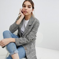 Monki longline blazer in check at asos.com
