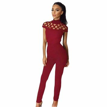 Womens Choker High Neck Caged Sleeve Playsuits Long Jumpsuits Rompers