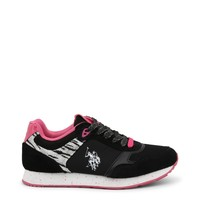 Us Polo Black Glitter Leather Sneakers