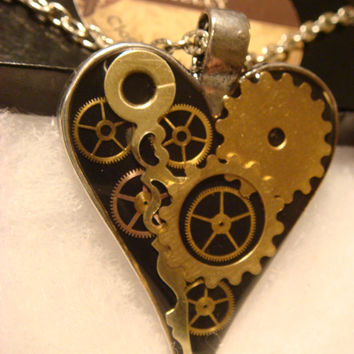 Clockwork Heart with Gears and Upcycled Watch Parts Steampunk Necklace- (1535)