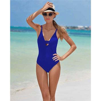 2016 New Sexy Women One Piece Swimsuit Swimwear Solid Bandage Bodycon Hollow Out Boho Backless Bathing Monokini  Swimwear