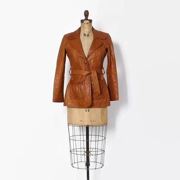 Vintage 70s Custom LEATHER JACKET / 1970s Mango Road Belted Caramel Brown Leather Jacket S