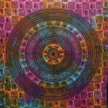 "Tie dye Elephant Mandala  tapestry Indian Hippie Hippy Wall Hanging Wall Decor Bed Spread Wall art,Beach Coverlet Throw, Curtain 92"" x85"""