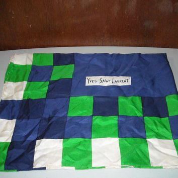 Vintage Yves Saint Laurent Kelly Green Navy Blue Large Silk Scarf With Small Stains