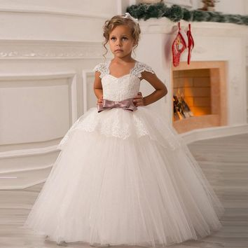 Flower Girl Dress 2017 Real Lovely White Ivory Cap Sleeve Bow Elegant Birthday Ball Gown Communion Party Dresses