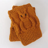 Knitted Boot Cuffs Brown  Tawny OWL  Boot Socks Boot Topper Leg