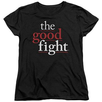 The Good Fight Womens T-Shirt Logo Black Tee