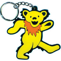 Grateful Dead Rubber Key Chain Yellow