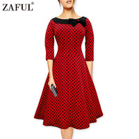 ZAFUL Brand plus size New Summer Women Dress Vintage Robe Hepburn feminino Rockabilly Retro red dot Party Dresses Short Vestidos