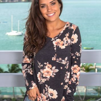 Charcoal Floral Long Sleeve Top