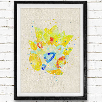Pokemon Togepi Watercolor Print, Pocket Monster Baby Nursery Decor, Wall Art, Home Decor, Gift Idea, Not Framed, Buy 2 Get 1 Free!