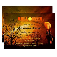 Halloween party invitation scary spooky castle