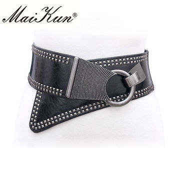 2017 Fashion Punk Rocker Wide Belts for Women Elastic Wide European Style Women Belts Metal Round Buckle