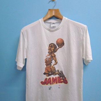 Discount 15% 90's Vintage Adidas James Lebron Miami NBA Star Cartoon Sport Shirt Street Wear Hip Hop T Shirt Top Tee Size S