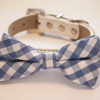 Plaid Blue Dog Bow tie with High Quality White Leather Collar, Cute Dog Bow tie, Some thing blue