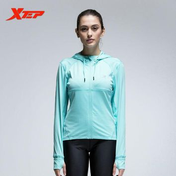 DCCKHN1 XTEP Women Sport Jacket Zipper Hooded Long Sleeve Breathable Athletic Coats Running Fitness Quick Dry Sportswear 884328069073
