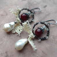 Bohemian assemblage patina earrings / rustic romantic shabby / white freshwater pearls, black copper wire, cotton lace, moonstone, garnet