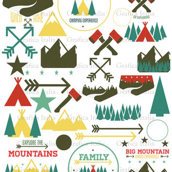 Camping ClipArt - Cabin Design Elements - Outdoors Clip art - 32 Items - DIY Decor Design Crafts Scrapbook Jewelry - Mountains Trees Arrows