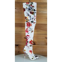 Mac J Satin White Metallic Floral Stocking High Heel Thigh High Boots