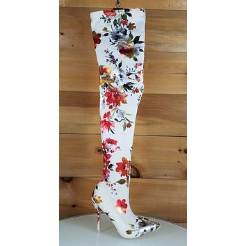 Mac J Satin White Metallic Floral Stocking High Heel Thigh High Boots 7-11
